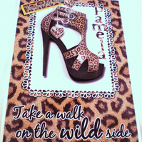 Handmade Hen Night,Weekend Greeting Card Leopard print shoes, Decoupage,3D,