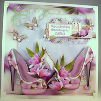 Personalised Handmade Large 21st Birthday Card, shoes, flowers,elegant,3D decoup