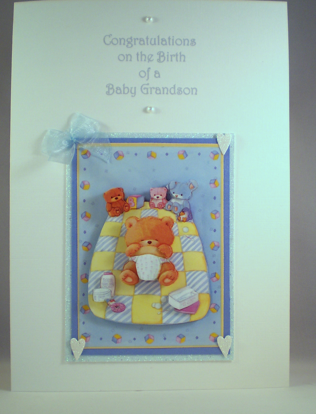 New Baby Card For Grandson,Grandparents,3D,Decoupage,handmade personalise