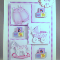 Handmade New Baby Girl Decoupage Card, personalise,daughter,granddaughter,parent