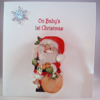 Baby's 1st Christmas Card, Santa Handmade, Decoupage, 3D, Personalise