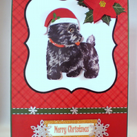 Scottie Christmas Card, Handmade,3D,Scottish