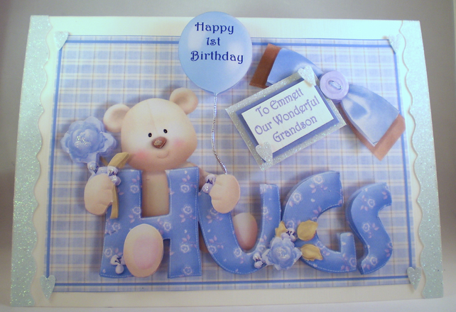 Boys First Birthday Card, cute teddy, handmade,grandson,3D, son,Personalise