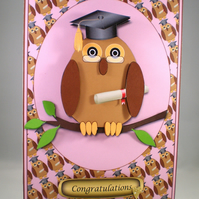 Handmade Decoupage,3D Graduation Owl Card,Female.Personalise