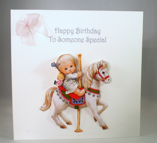 Decoupage,3D Birthday Card, young girl, handmade, personalise