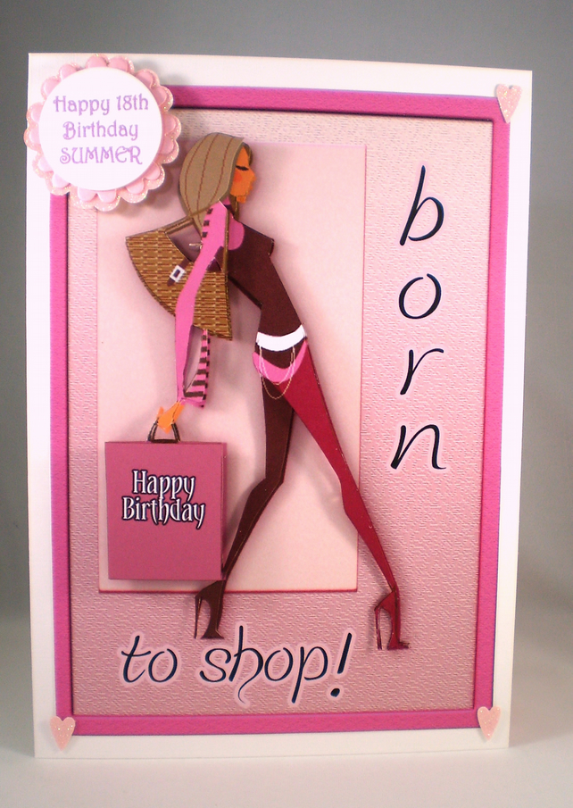 Teenager Girl Shopping Birthday Greetings Card, 3D,Personalise