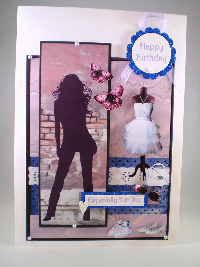 Handmade 3D Fashionable Young Lady, Birthday Card,Personalise, 18th, 21st