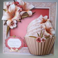 Personalised Handmade Large Birthday Card,Mum, Cupcake,Flowers, 3D ,Decoupage