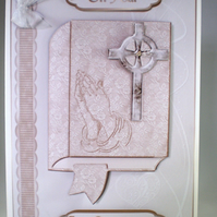 Holy Communion Decoupage Greeting Card ,praying hands,bible, Personalise