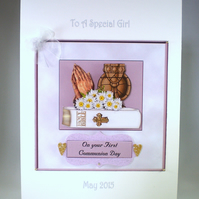 Holy Communion Decoupage Greeting Card ,praying hands,bible,goblet. Personalise