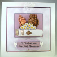 Handmade Decoupage, 3D, Holy Communion Card,Bible,Praying Hands, Personalise