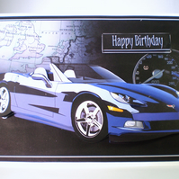 Birthday Sports Car Birthday Blue,Purple, 3D.Personalise,Handmade,3D