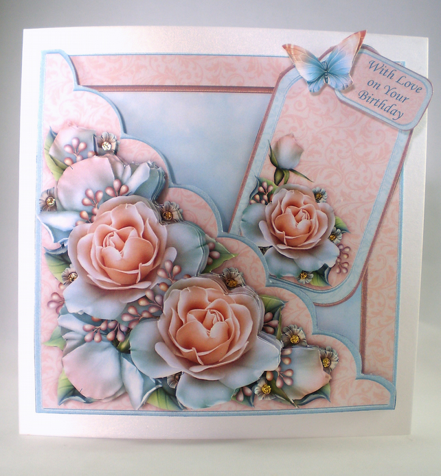 Handmade Decoupage, 3D,Roses Birthday Card,Personalise