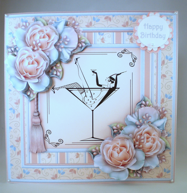 Decoupage Handmade Large Birthday Card,Champagne and Roses,21st,18th,Daughter,