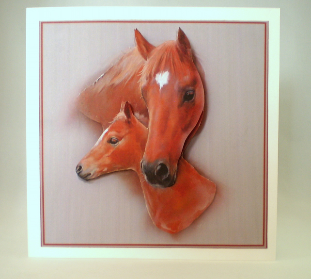 Decoupage,3D Horse and Foal Greeting Card, personalise