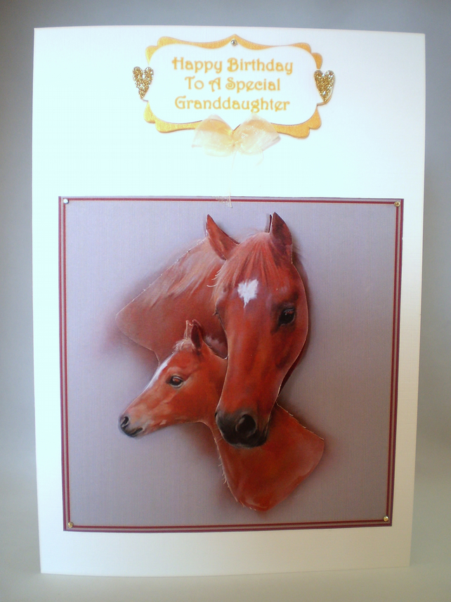 3D Decoupage Horse and Foal Birthday card Granddaughter,Daughter,Personalise