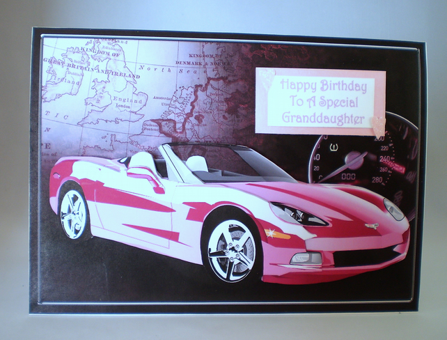 Handmade Pink Sports Car Birthday Card, Granddaughter,Personalise
