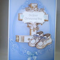 Handmade Christening Card for boy, decoupage,3D, cross,shoes,bible,personalise