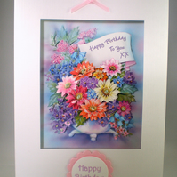 Handmade Decoupage,3D Birthday Card,  Flowers, Personalise