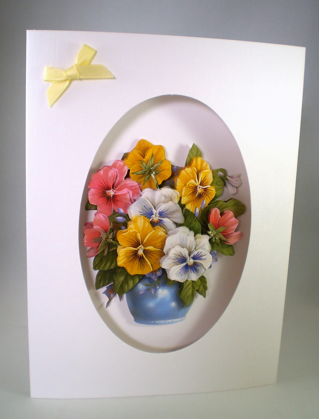Handmade Decoupage Pansy Blank Greeting Card,Personalise
