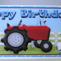 Handmade 3D tractor and farm animals  Birthday Card,Grandson, personalise