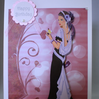 Handmade Decoupage Elegant Lady Birthday Card,Personalise