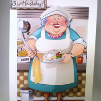 Handmade decoupage humorous dinner lady birthday card, retirement,thank you
