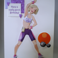 Handmade decoupage humorous lady exercising birthday card, personalise
