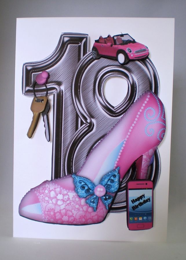 Handmade Decoupage 3d 18th Birthday Card Female Folksy