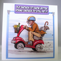 Handmade 3D Humorous Birthday Card, Grandad on mobility scooter