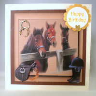 Handmade 3D Horses and Foals Birthday Card,Personalise