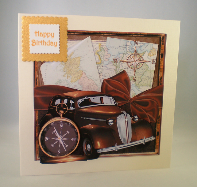 Handmade Old Car Birthday Card Male3DPersona