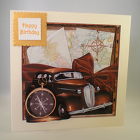 Handmade Old Car Birthday Card, male,3D,Personalise
