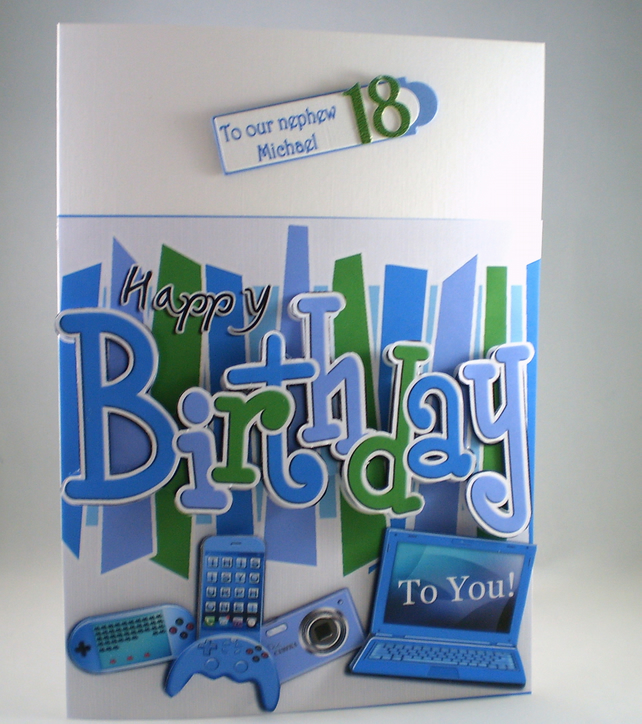 3D Birthday Card,gadgets ,laptop,mobile phone,games consul,camera.18th, 21st