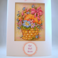 Handmade Decoupage Get Well Card, cute teddy,personalise