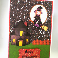 Handmade 3D Halloween Greeting Card,Pretty Witch,broomstick