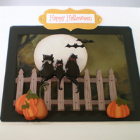Handmade Halloween Greeting Card,Black Cats,pumpkins