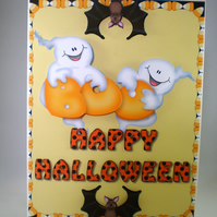 Handmade Halloween Greeting Card,ghosts,pumpkins,bats