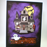 Handmade Halloween Greeting Card,ghosts, witch, cauldron, bats ,haunted house
