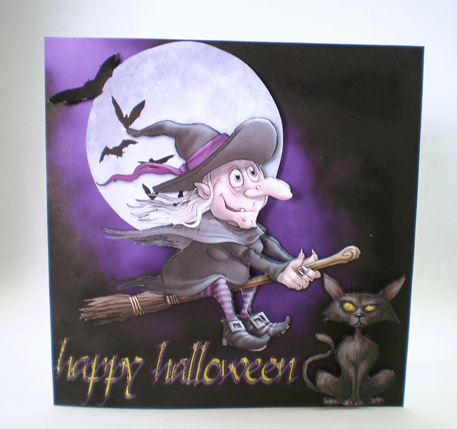 Handmade 3D Halloween Greeting Card,Witch,broomstick,cat