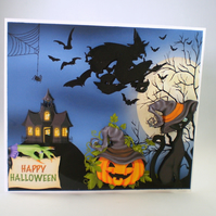 Handmade Halloween  Greeting Card,3D,witch,broomstick,cat,pumpkin