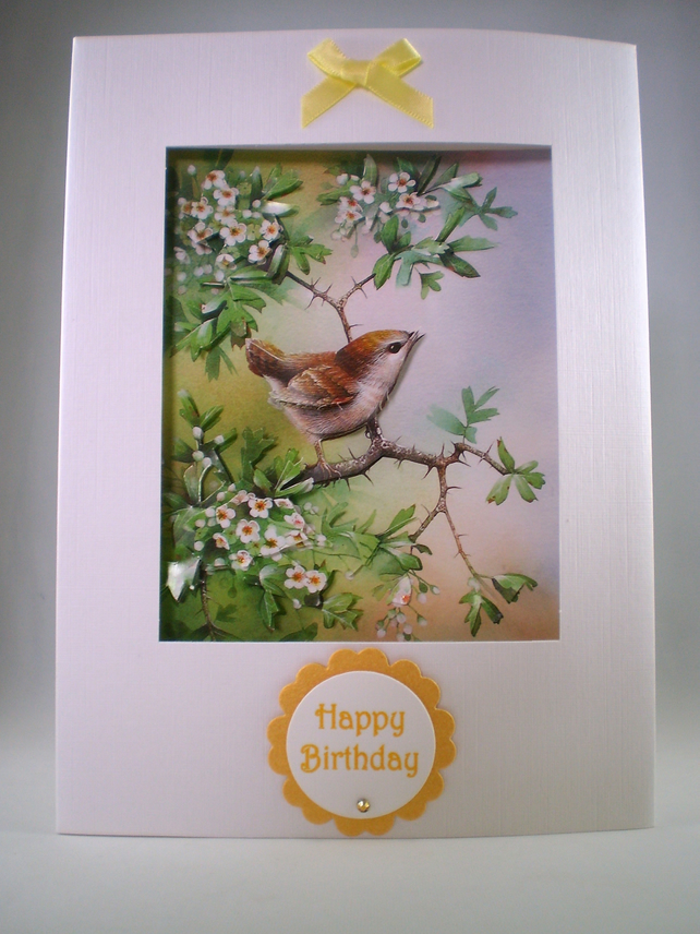 Handmade  Birthday decoupage bird card, wren,personalise
