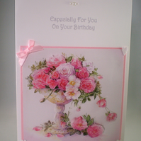 Handmade Decoupage roses birthday card,personalise,3D