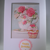 Handmade Decoupage Teacup of Roses ,Cupcake Birthday Card,personalise,3D
