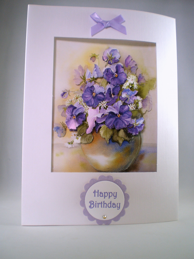 Handmade DecoupageVase of Flowers  Birthday Card, pansies,violas, personalise,3D