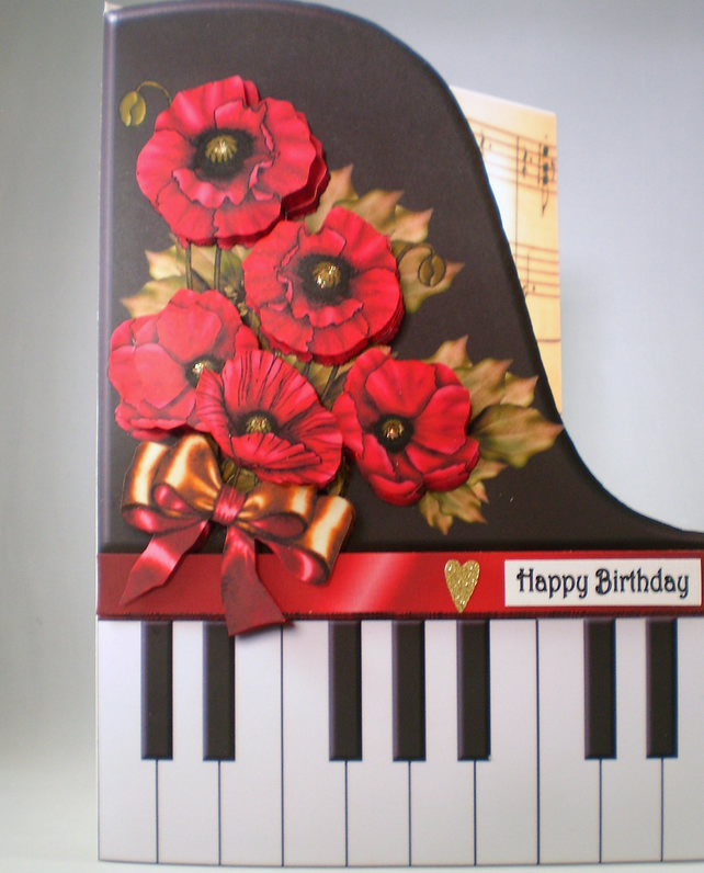 Handmade Decoupage 3D Piano and Poppies Birthday Card.Personalise