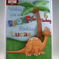 Handmade Personalised 3D  Dinosaur Birthday Card, Personalised,Grandson