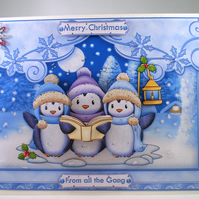 Handmade  Singing penguins Christmas Card,personalise,decoupage,3D