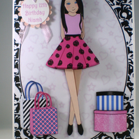 Fashionable Girl Birthday Card,3D Personalise