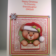 Cute Teddy Christmas Card, Handmade, Decoupage, 3D, Personalise
